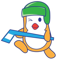 Penguin playing hockey vector