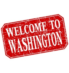 Welcome to washington red square grunge stamp vector