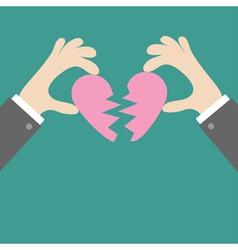 Businessman hands holding pink broken heart Flat vector image