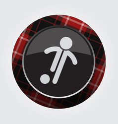 Button red black tartan - football soccer player vector