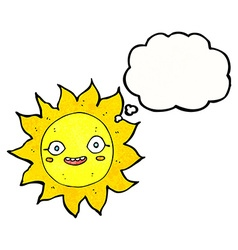Cartoon happy sun with thought bubble vector