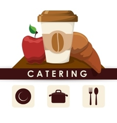Catering breakfast fresh restaurant pot dish spoon vector