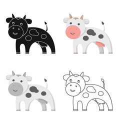 Cow icon cartoon single bio eco organic product vector