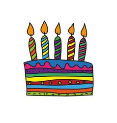 Doodle birthday cake vector