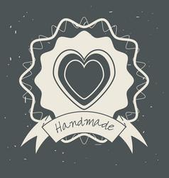 emblem heart shape with ribbon decoration design vector image vector image