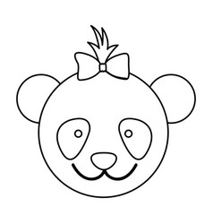figure face bear bow head icon vector image