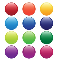 framed glassy buttons set vector image vector image