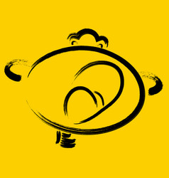 Funny yawning smiley on a yellow background eps10 vector
