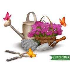 Garden tools background vector
