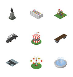 Isometric city set of seesaw flower decoration vector