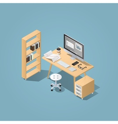 Isometric furniture workplace vector image vector image