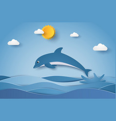 Jumping dolphin in sea waves paper art style vector