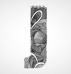 Letter j from doodle alphabet vector