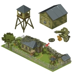 Military garrison garage tower and machine gun vector