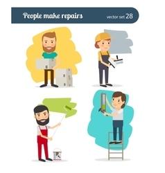 People make repairs vector image