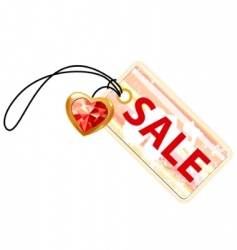 sale label with gold heart vector image