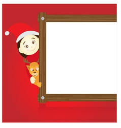 Santa claus and reindeer holding wood board on red vector