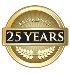 Twenty Five Years Experience Gold vector image