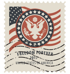 usa postage stamp with the eagle and american flag vector image vector image