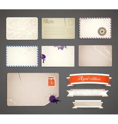 Vintage postcard templates vector image