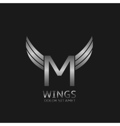 Wings M letter logo vector image
