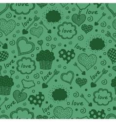 Green hearts pattern vector