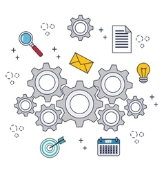 office work equipment flat icons vector image