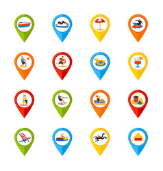 various locations signs colorful icons set vector image