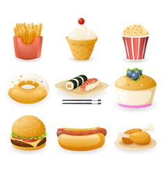 Retro flat fast food icons and symbols set vector