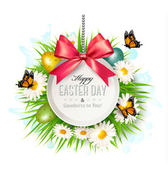 holiday background with colorful easter eggs vector image
