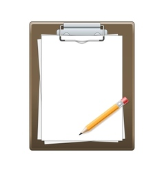 Clipboard with paper and pencil vector image