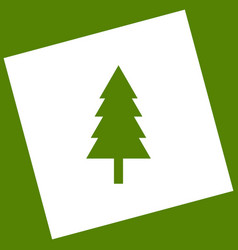 new year tree sign  white icon obtained as vector image