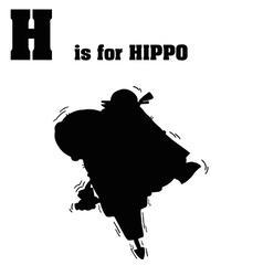 Hippo with jackhammer silhouette vector
