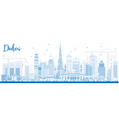 Outline dubai uae skyline with blue buildings vector