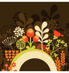 Half round banner with spring nature vector