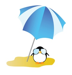 penguin on a desert island art vector image