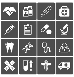 Medical icons on black background vector