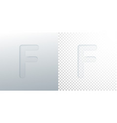 3d paper cut letter f isolated on transparent vector