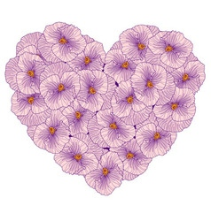 Pansy flowers heart composition vector