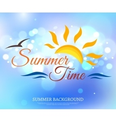 Shining summer time typographical background with vector