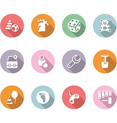 Icon set children toys and games color with shadow vector