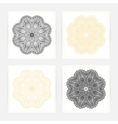 Hand drawn outline round ornament Set of cards vector image