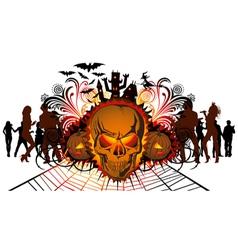 halloween skull vector image