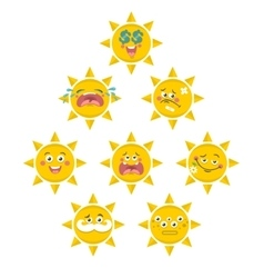 Set of yellow smile faces of sun vector