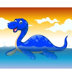 Funny dinosaur cartoon swimming with sea life vector