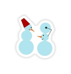 Stylish paper sticker on white background snowmen vector