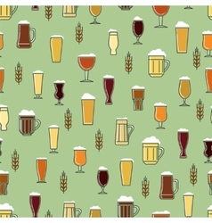 Beer glasses colorful seamless pattern vector