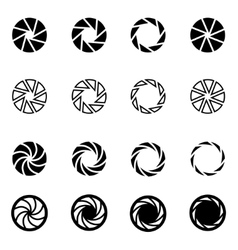 black camera shutter icon set vector image vector image