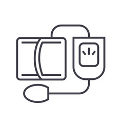 blood pressure gaugemeasuring line icon vector image