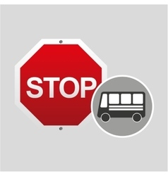 Bus side stop road sign design vector